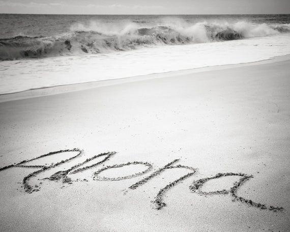 Hawaii Art, Aloha Wall Decor, Black and White Beach Photography, Aloha Ocean Pri...