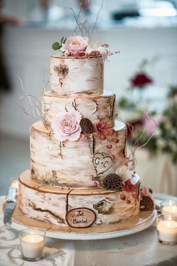Rustic Wedding Cake With Flowers Wedding Inspiration #Flowers #Wedding ...