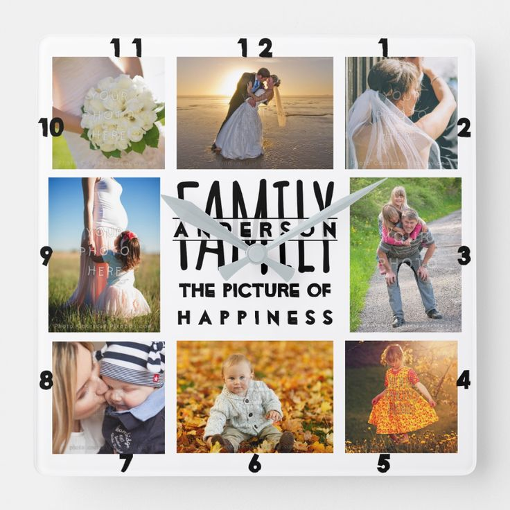 Family Photo Collage Add Name Template 8 Picture Square Wall Clock...