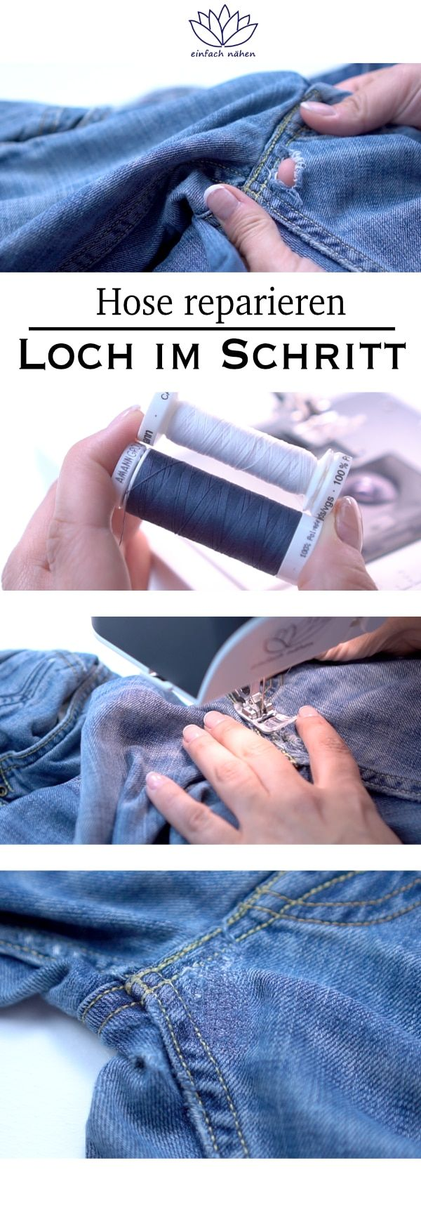 Repair pants in crotch | easy to learn how to sew - tips and tricks for sewing ...