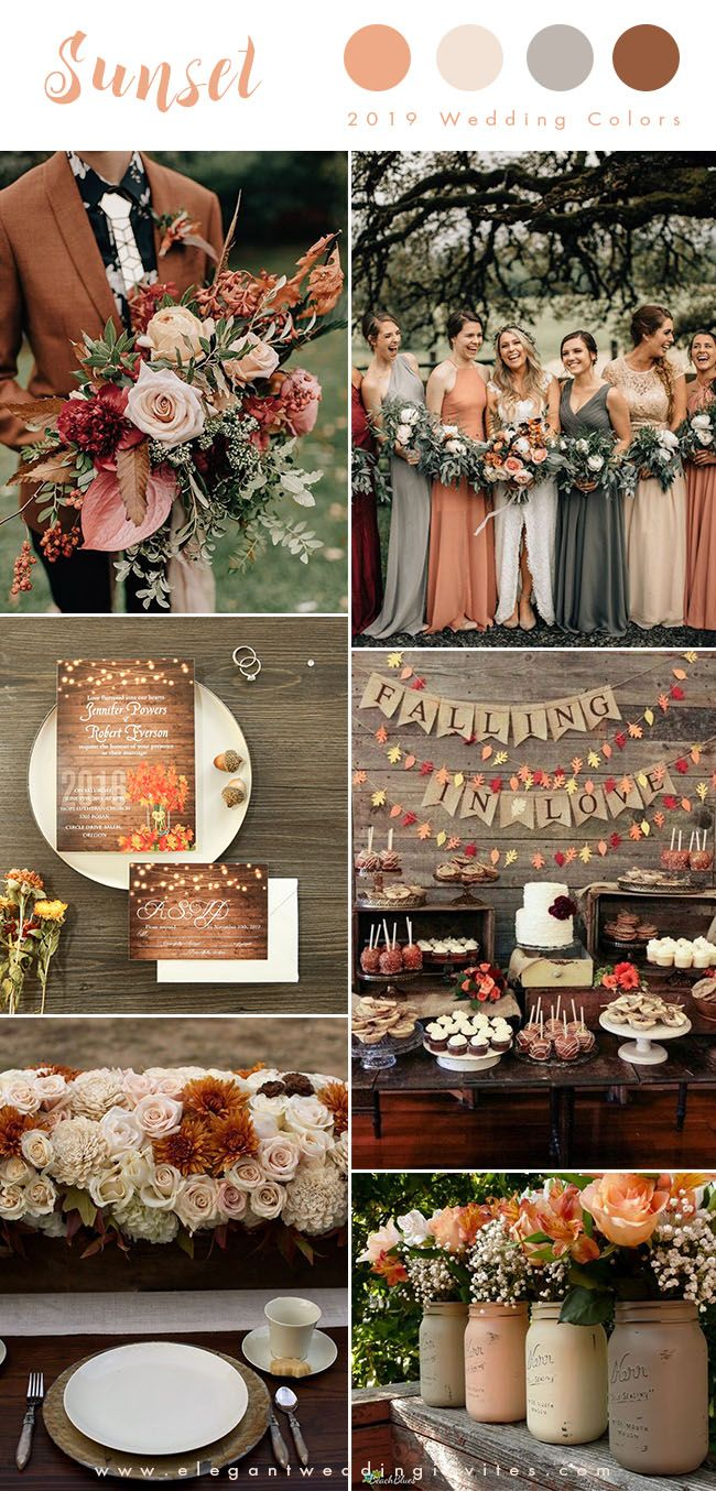 sunset orange, blush and rust brown earthy tone fall wedding colors for 2019...