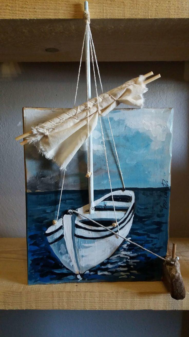 Original acrylic painting on old wood. Boot - Arcadia Ego Studios ...