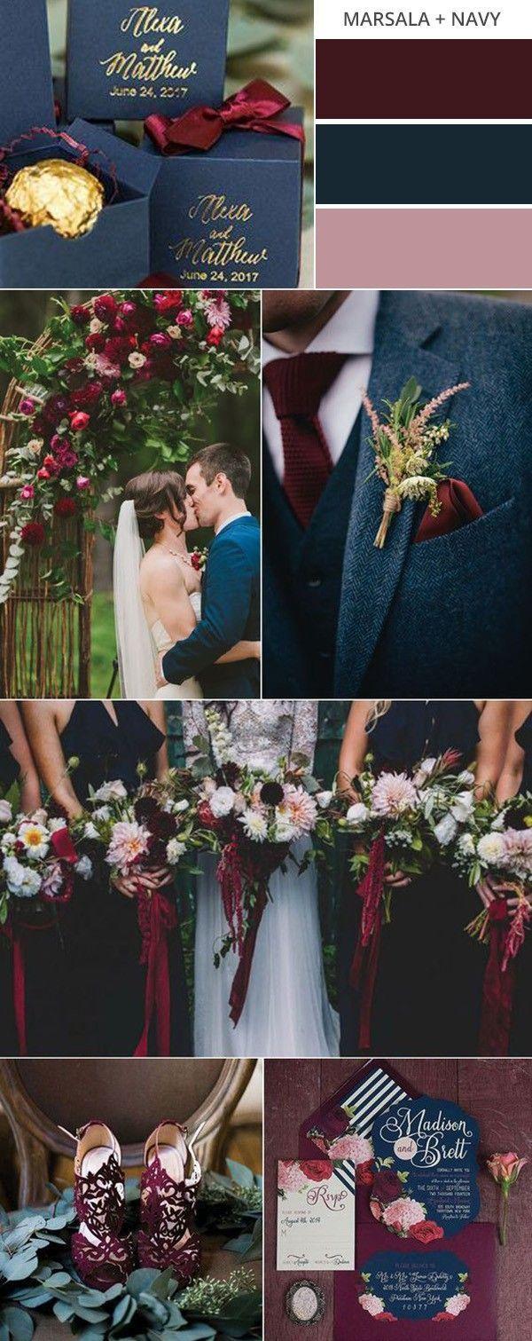 marsala and navy blue fall wedding color ideas #weddingcolors #fallwedding #wedd...