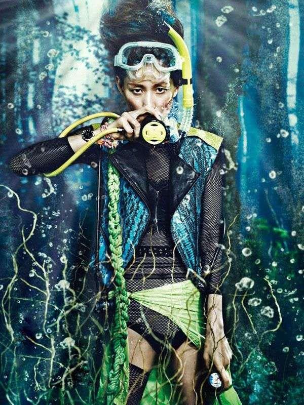 W Magazine's Scuba Diving Fashion Spread Conquers the Deep Blue trendhunter.com...