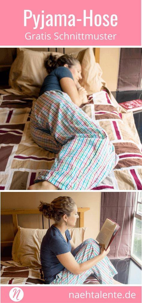 Free pattern pajama pants or lounge pant for women. PDF cut to size