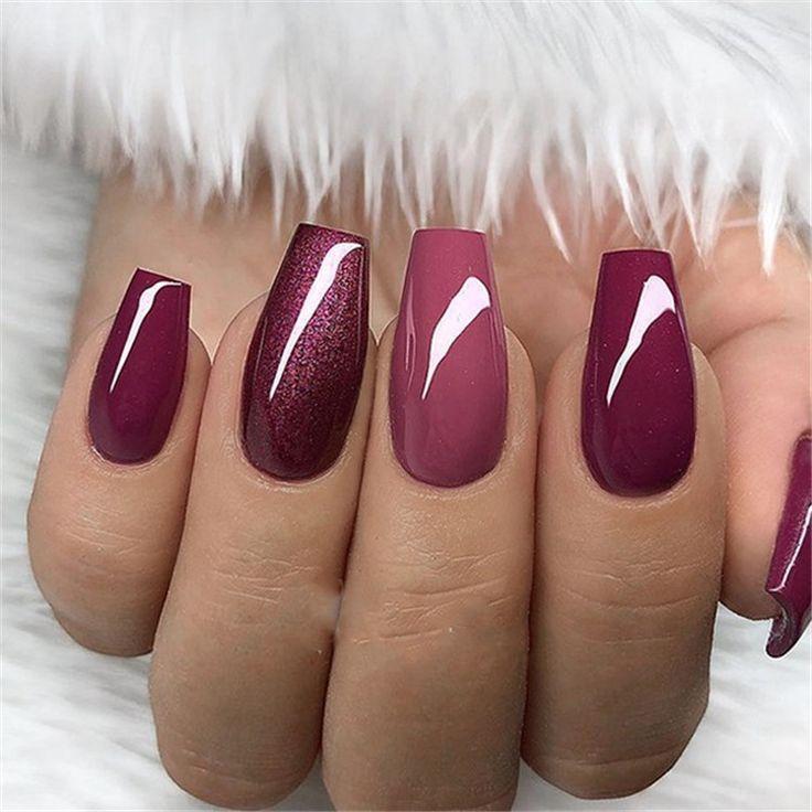 30+ Elegant Purple Glitter Coffin Nails Inspiraties + tips - #coffin #elegant #g...