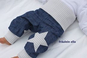 Very nice bloomers made of light denim linen in linen look with gray / white ...