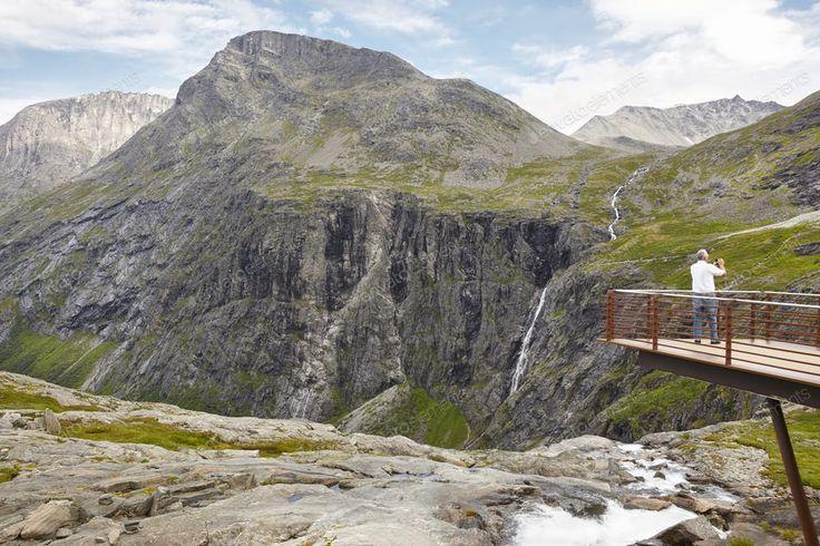 Norwegian mountain tourist landscape. Trollstigen viewpoint. Travel Norway. Hori...