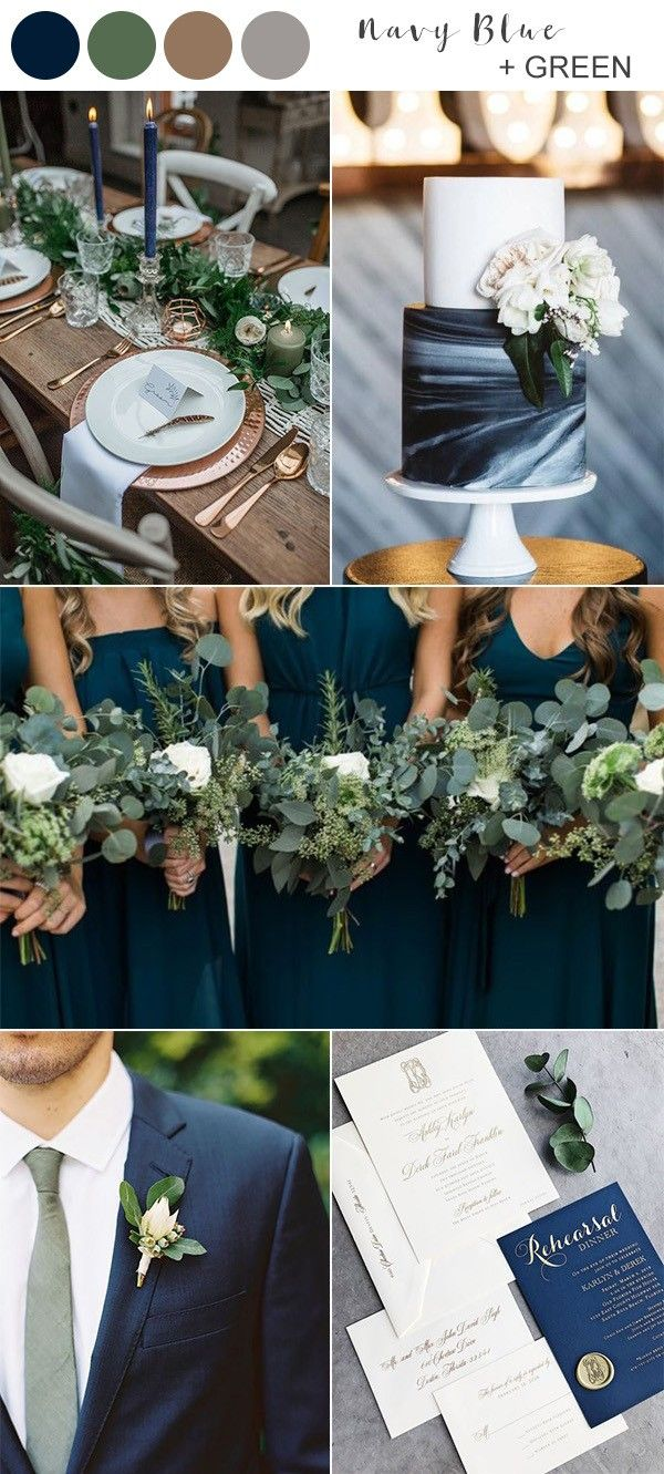 navy blue and green fall wedding color ideas...