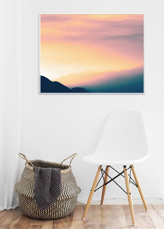 Sunset Prints. Landscape Sunset Photo Prints. Horizontal Wall Art. Mountains Pho...