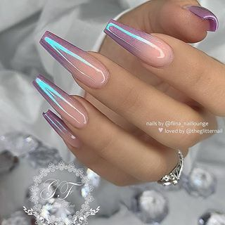 ✨ Violet ombre with chrome effect on long coffin ... - #chrome #Coffin #Effec ...