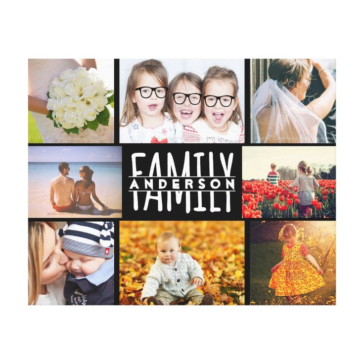 Family 8 Photo Collage Template Plus Add Name V2 Canvas Print...