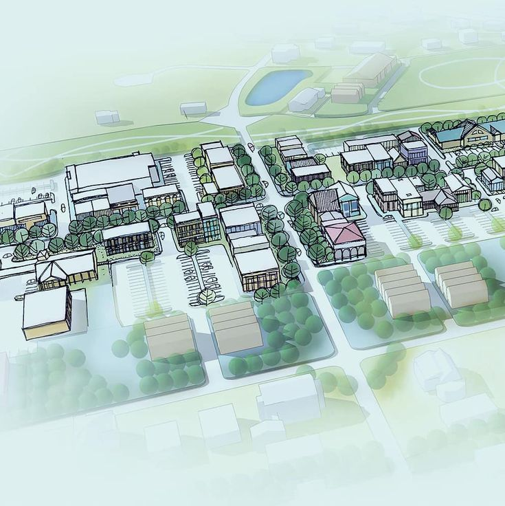 Small Southern Town. Urban planning birds eye view. 3d modeling with hand sketch...