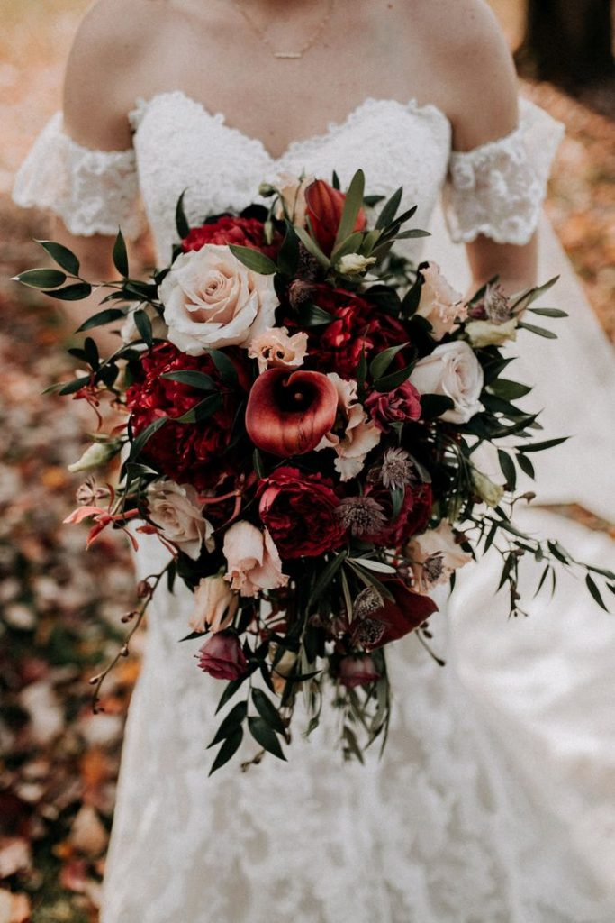 rustic wedding fall colors bridal bouquet red, pink.jpg...