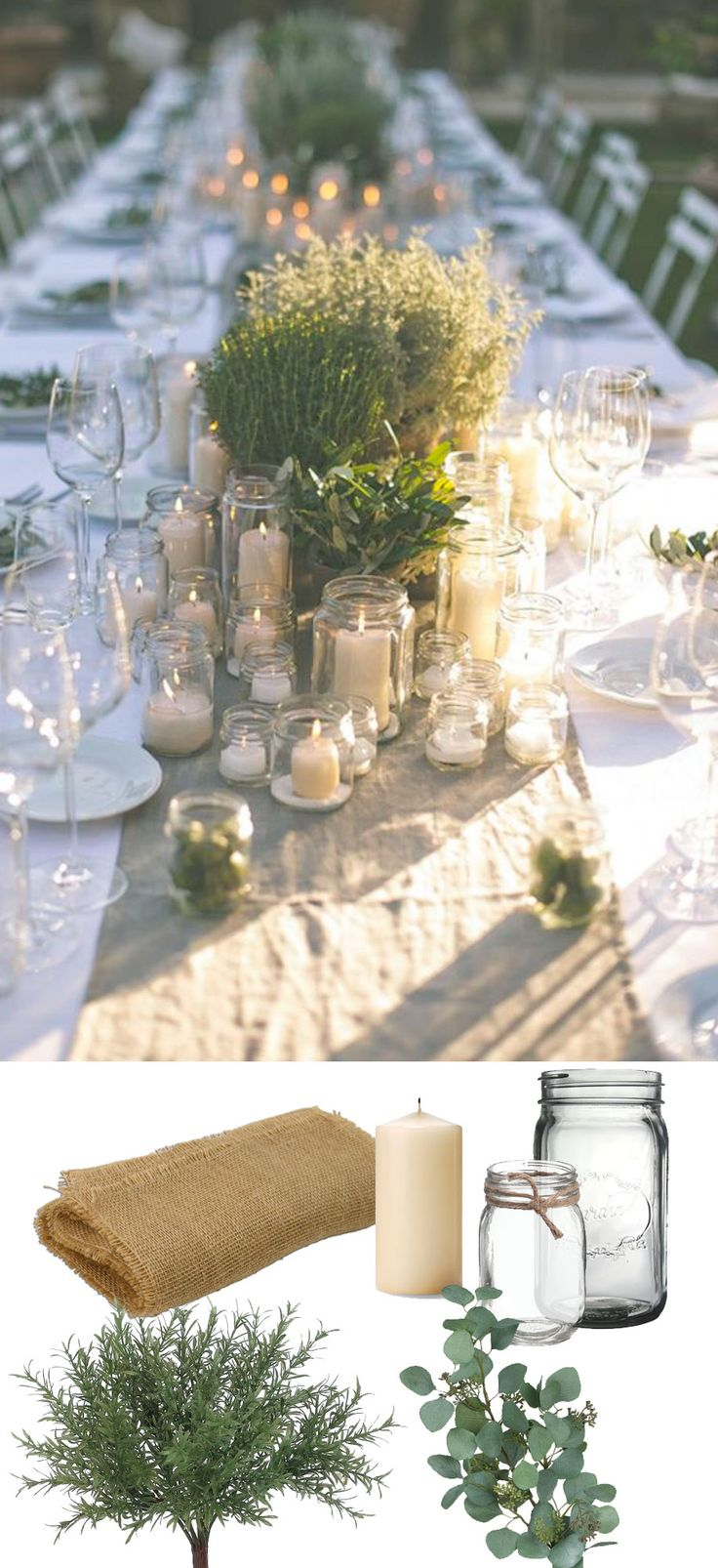 Beautiful rustic green tablescape. Recreate this look with burlap, jars, and fau...
