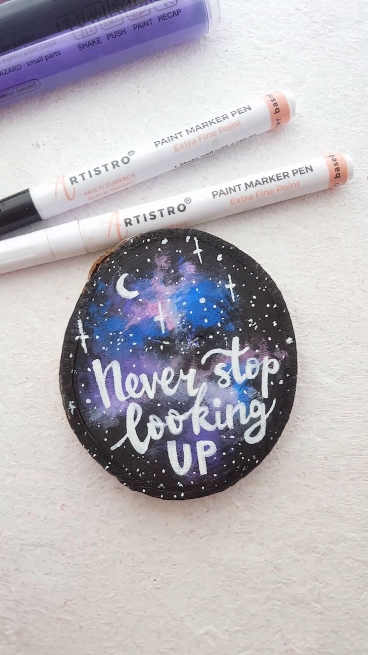 Motivation quote wood slice painted with acrylic markers