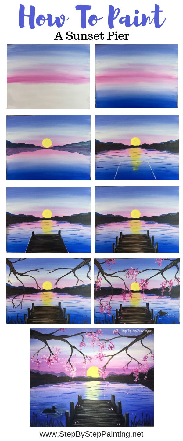 How To Paint A Sunset Lake Pier - Step By Step Painting...