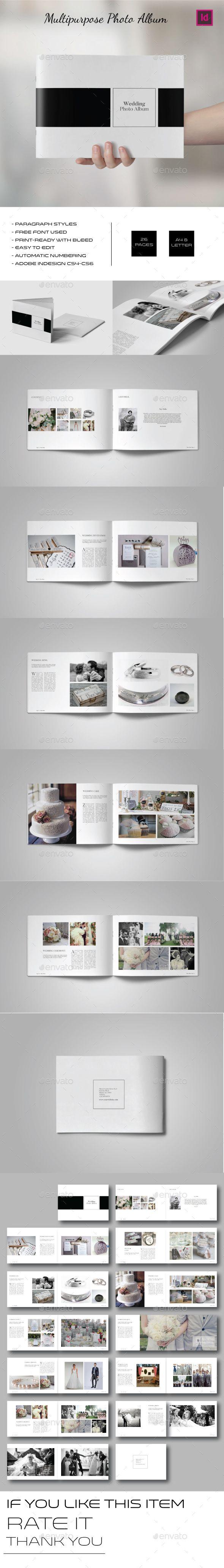 Multipurpose Landscape Photo Album Template InDesign INDD. Download here: graphi...
