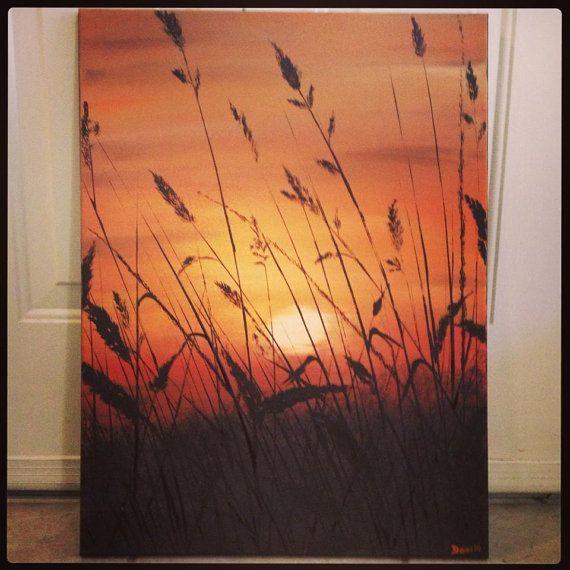Sunset landscape original acrylic painting on canvas # acrylic painting ...
