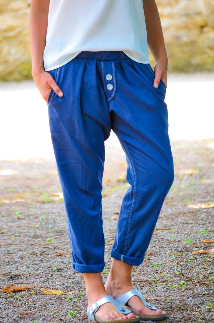 Sew on linen trousers: A casual Velara pants made of linen - Image 4   Textilsucht.d ...