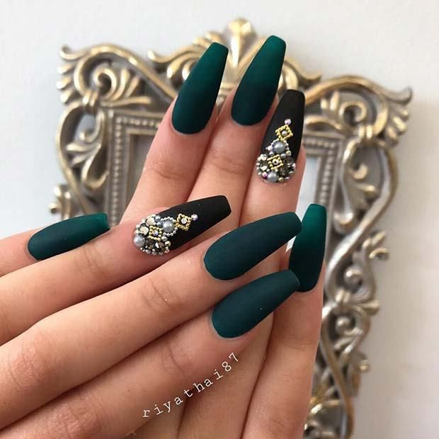 #1 Dark Green and Black Matte Coffin Nails | 11 Matte Coffin Nails You Need to T...