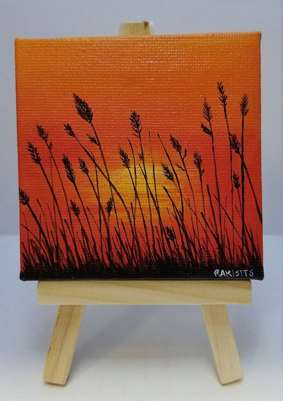 """MINIFELD PAINTING with easel 3 """"x 3"""" canvas acrylic painting Sunset M ... ..."""