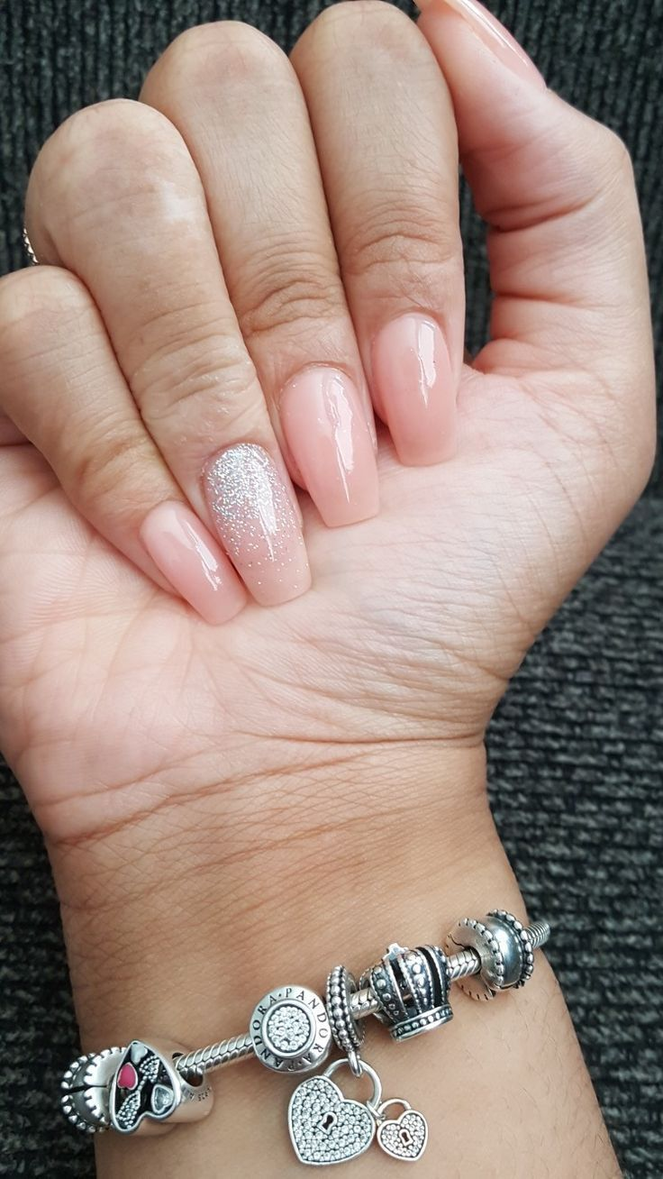 Ude Nude Mauve White Glitter Ombre And Crystals On Long Coffin Nails 1945 Vivian C Hernandez Home
