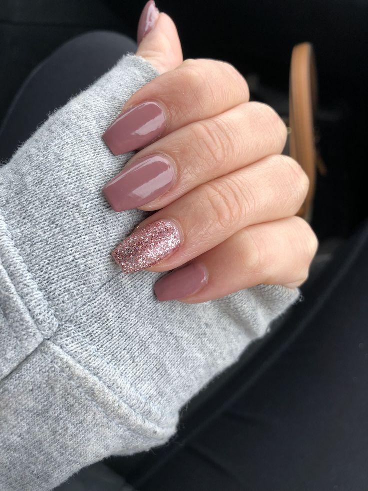 Acrylic Coffin Nails Purple Pink Glitter #AcrylicNailsRound #gel # Gel Nails #glitter ...