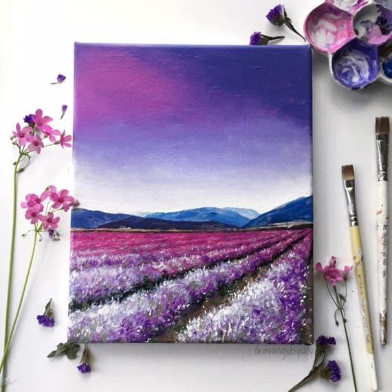 Acrylic paint field sheet 8x10 purple flower field | Etsy ...