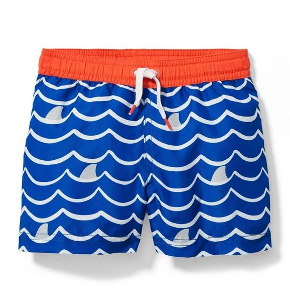 Boy Royal Blue Wave Print Wave Swim Trunk by Janie and Jack...