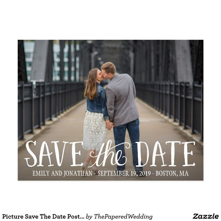 Picture Save The Date Postcard, Horizontal Picture Postcard...