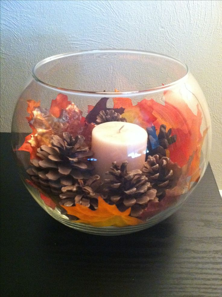 Great DIY deco idea for the autumn wedding: Just a candle in a gold f ...