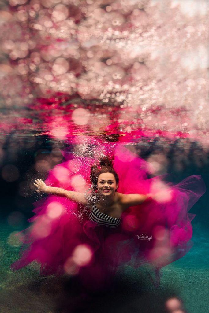 Underwater Senior in Pink Tulle by RENEE STENGEL Photography | Charlotte Underwa...