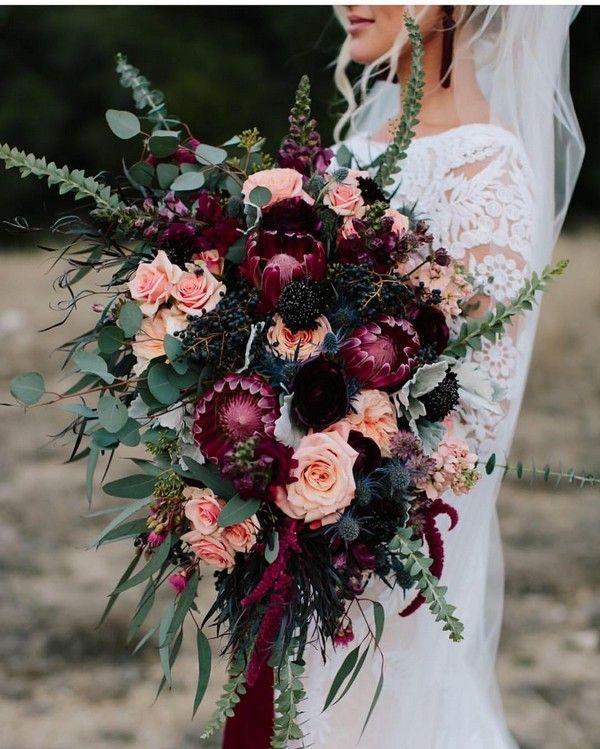fall dark purple and coral wedding bouquet #wedding #bouquets #fallweddings #flo...