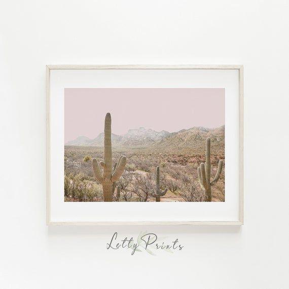 Horizontal Wall Art, Desert Print, Southwestern Art, Cactus Wall Art, Cactus Pri...