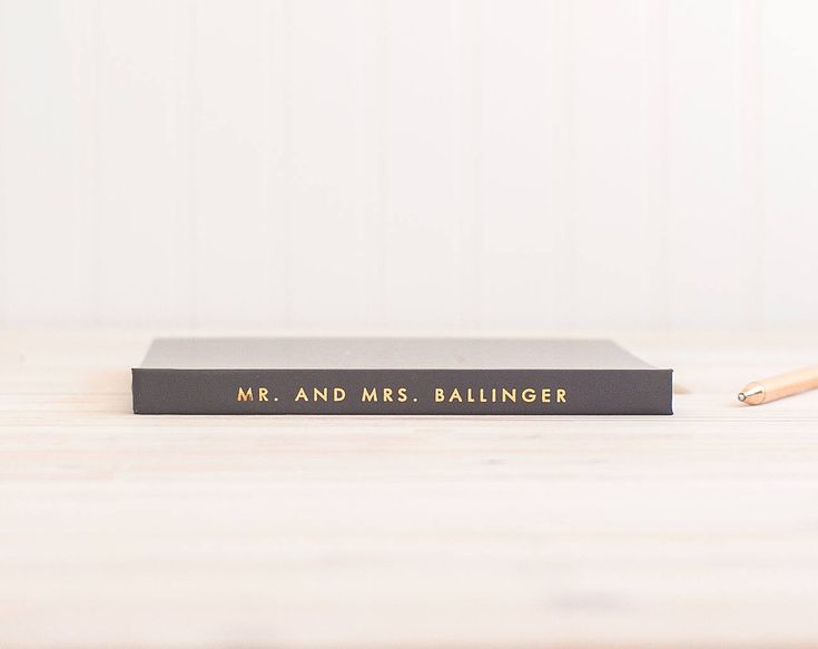 Wedding Guest Book landscape horizontal wedding book with Real Gold Foil wedding...