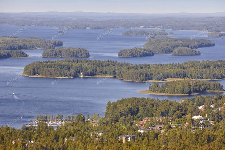Kuopio area in Finland. Island, forest lake. Finnish landscape. Horizontal By AB...