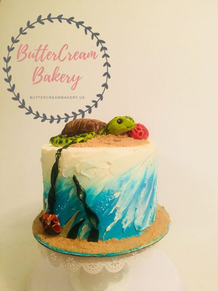 Sea turtle cake, coral, ocean, waves, cake, cake Decorating