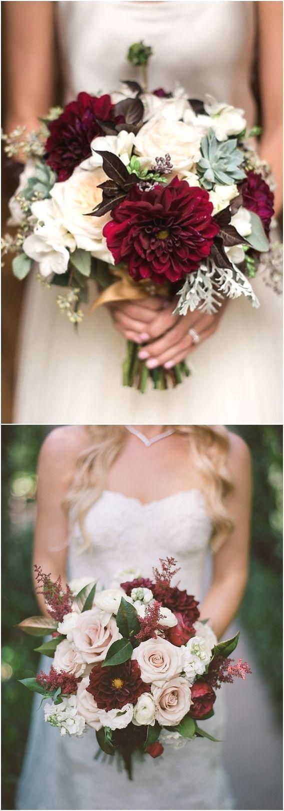 Burgundy Wedding Bouquets for Fall / Winter Wedding #Wedding #Wedding ......