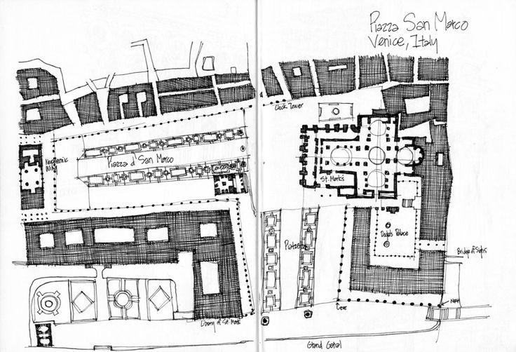 Piazza d' San Marco site plan - sketch by Michael Malone...