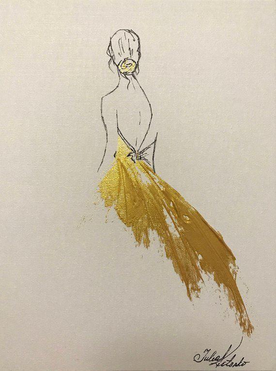 Princess Painting Gold Painting on Canvas Wall Decor Original   Etsy #decor ...