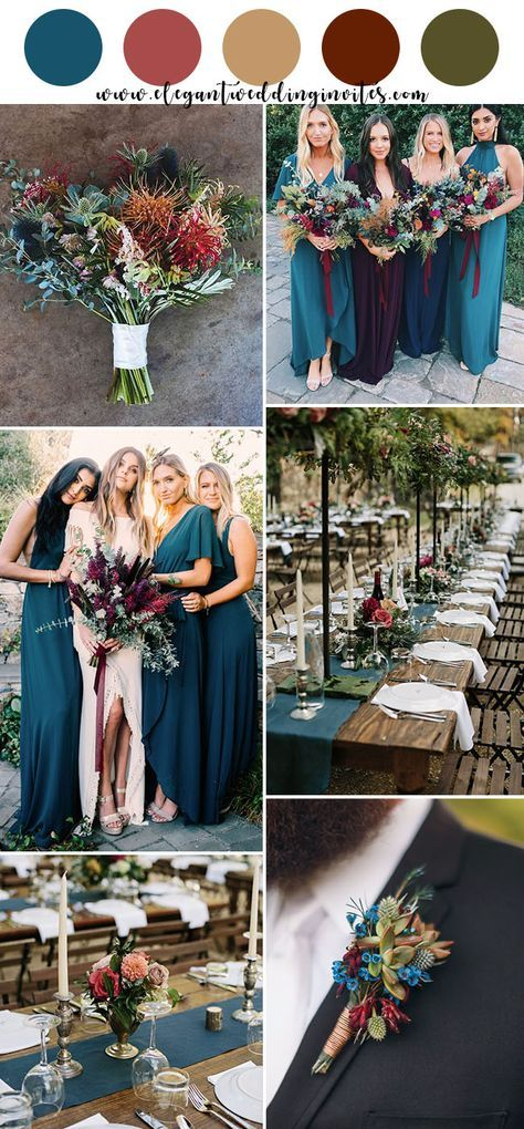 jewel tone teal blue,dark red, pink rustic chic fall wedding color inspiration #...