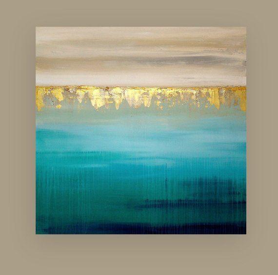 Art, Acrylic Painting, Original Abstract, Beachy, Shabby Chic, Acrylic Paintings on Lei ...