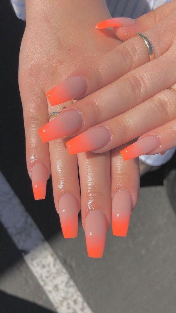 33 Trendy fall nails: orange coffin nails designs - #coffin #Designs #Nails #Ora...
