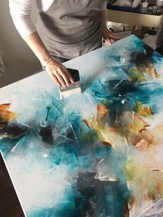 Art Studio Work in progress - an abstract acrylic painting on canvas with gold ...
