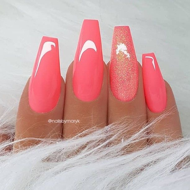 REPOST - - - - Coral pink and glitter on long coffin nails - - - - Picture and ...