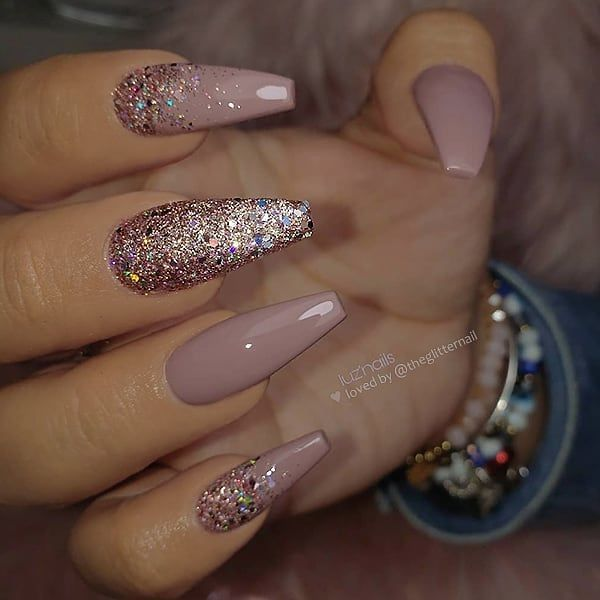 Mauve and glitter on long coffin nails • Nail Artist: @ luzpantoja127 Follow ...