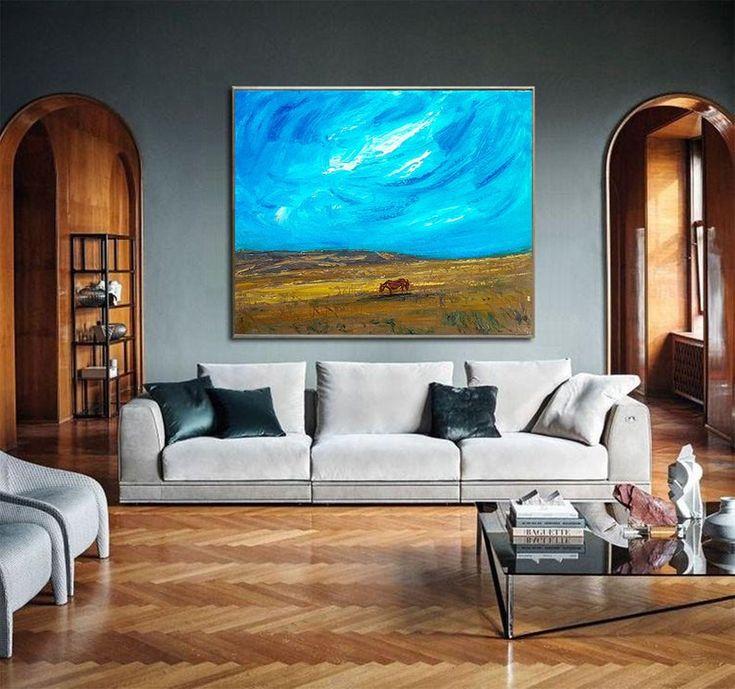 Abstract Landscape Minimalist Landscape painting Nature art   Etsy #sky #blueand...