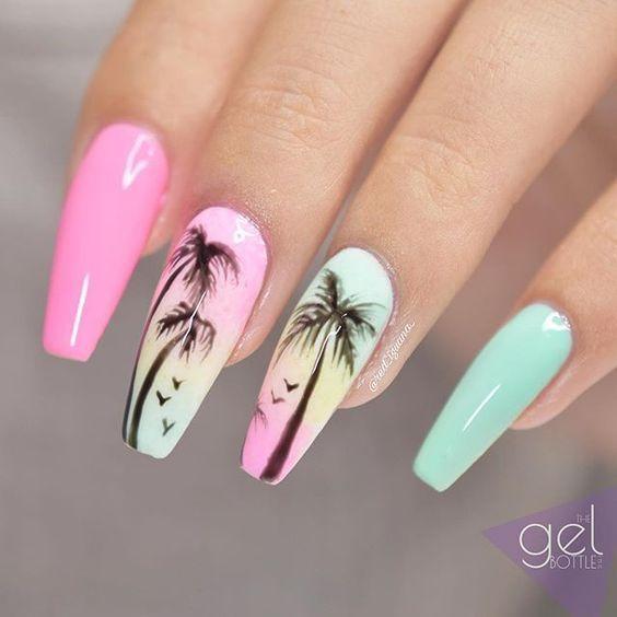 Do not miss cute palm tree coffin nail ideas in summer # Ideas # Nail #n ...