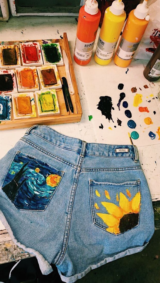 So artists wear shorts, they paint them! Sunflower and Starry Night Painting ...